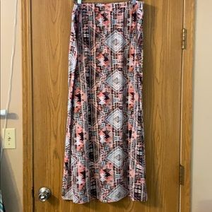 Just be Aztec Patterned Maxi Skirt, 2X
